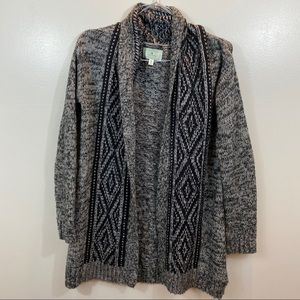 Ruby Moon Anthropologie Patterned Gray Cardigan
